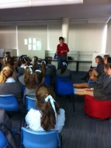 St Catherine's author visit (courtesy of their blog)